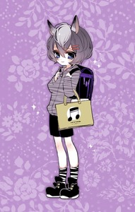 Rating: Safe Score: 0 Tags: 1girl backpack bag black_footwear black_shorts chino_machiko closed_mouth floral_background full_body grey_hair hair_ornament hairclip long_sleeves looking_at_viewer musical_note purple_background purple_eyes randoseru shoes short_hair shorts show_by_rock!! smile socks solo standing striped striped_legwear sweater younger zebrina_(show_by_rock!!) User: DMSchmidt