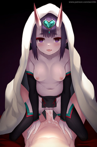 Rating: Explicit Score: 12 Tags: 1girl bangs black_legwear blanket blush breasts collarbone cowgirl_position cum cum_in_pussy detached_sleeves eyebrows_visible_through_hair eyeliner fang fate/grand_order fate_(series) forehead_jewel fundoshi girl_on_top gradient gradient_background headpiece heart hetero horns japanese_clothes looking_at_viewer low_twintails makeup navel nipples oni oni_horns open_mouth penis pointy_ears purple_eyes purple_hair revision sex short_eyebrows short_hair short_twin_tails shuten_douji_(fate/grand_order) shuten_douji_(halloween)_(fate) small_breasts smile solo_focus straddling thighs topless twin_tails vaginal zen_o User: DMSchmidt