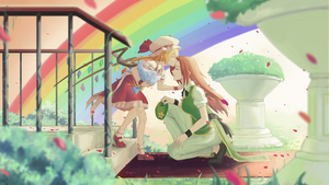 Rating: Safe Score: 0 Tags: 2girls ascot beret blonde_hair braid chinese_clothes closed_eyes crystal flandre_scarlet flower forehead_kiss hat hat_ribbon highres hong_meiling huanyu_(huanyu_) kiss long_hair mob_cap multiple_girls one_knee puffy_short_sleeves puffy_sleeves rainbow red_hair red_skirt ribbon short_sleeves side_ponytail skirt skirt_set stairs touhou_project twin_braids wings wrist_cuffs yuri User: DMSchmidt