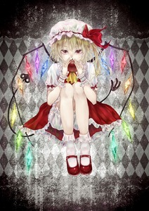 Rating: Safe Score: 0 Tags: 1girl ankle_socks apple argyle argyle_background black_background blacksio blonde_hair bloomers covering_mouth cravat crystal flandre_scarlet food frilled_shirt_collar frilled_skirt frills fruit gradient gradient_background hair_between_eyes hat hat_ribbon highres holding holding_fruit knees_to_chest laevatein legs_together looking_at_viewer mary_janes mob_cap red_eyes red_footwear red_skirt red_vest ribbon shirt shoes short_hair short_sleeves side_ponytail skirt solo touhou_project underwear vest white_legwear white_shirt wings wrist_cuffs yellow_neckwear User: DMSchmidt
