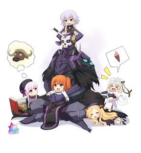 Rating: Safe Score: 2 Tags: 1boy 5girls :d >_< abigail_williams_(fate/grand_order) absurdres agung_syaeful_anwar armour bangs bare_shoulders bell beret bikini_top black_bikini_top black_bow black_cloak black_dress black_footwear black_gloves black_hat blonde_hair blush book bow braid brown_eyes brown_hair bull capelet chaldea_uniform closed_eyes crossed_legs dress elbow_gloves eyebrows_visible_through_hair fate/extra fate/grand_order fate_(series) food forehead fujimaru_ritsuka_(male) gloves glowing glowing_eyes gothic_lolita green_bow green_eyes green_ribbon hair_bow hat headpiece highres ice_cream ice_cream_cone jack_the_ripper_(fate/apocrypha) jacket jeanne_d'arc_(fate)_(all) jeanne_d'arc_alter_santa_lily king_hassan_(fate/grand_order) knife_in_head lolita_fashion long_hair low_twintails lying multiple_girls nursery_rhyme_(fate/extra) on_lap on_stomach one_side_up open_book open_mouth orange_bow parted_bangs pink_hair ribbon saint_quartz shirt shoe_soles shoes shoulder_tattoo silver_hair skull sleeping sleeveless sleeveless_shirt smile soft_serve spikes spoken_object striped striped_bow striped_ribbon tattoo twin_braids twin_tails uniform very_long_hair wavy_mouth white_background white_capelet white_dress white_jacket User: DMSchmidt