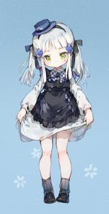 Rating: Safe Score: 2 Tags: 1girl alternate_costume alternate_hairstyle bangs black_ribbon blue_background blue_hat blush bow bowtie checkered checkered_neckwear closed_mouth dress dress_lift eyebrows_visible_through_hair facial_mark girls_frontline green_eyes hair_ornament hair_ribbon hairband hat head_tilt highres hk416_(girls_frontline) light_particles loafers long_hair looking_at_viewer ribbed_legwear ribbon shoes shuzi sidelocks silver_hair socks solo teardrop twin_tails User: Domestic_Importer