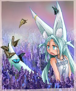 Rating: Safe Score: 1 Tags: 1girl :o animal_ears bare_arms bare_shoulders blue_eyes blue_hair bug butterfly doitsuken dress earrings eyebrows_visible_through_hair fang field flower flower_field fox_ears fox_girl fox_tail highres insect jewellery lavender_(flower) looking_away looking_back necklace open_mouth original solo sundress tail User: DMSchmidt