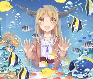 Rating: Safe Score: 1 Tags: 1girl against_glass air_bubble alternate_costume aquarium bangs blue_bow blue_skirt bow bubble clownfish fish gourd hair_bow highres horn_ornament horns ibuki_suika jewellery light_brown_eyes light_brown_hair long_hair looking_at_viewer open_mouth pendant shirt skirt smile solo star touhou_project toutenkou upper_body water white_shirt User: DMSchmidt