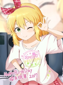Rating: Safe Score: 1 Tags: 1girl blonde_hair blush bow collarbone dot_nose eyebrows_visible_through_hair flat_chest green_eyes hair_bow hair_ornament hairband happy_birthday hokutoro64 idolmaster idolmaster_cinderella_girls looking_at_viewer medium_hair one_eye_closed pink_bow pink_skirt sakurai_momoka shirt skirt smile solo translation_request white_shirt wide_sleeves User: DMSchmidt