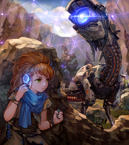 Rating: Safe Score: 3 Tags: 1girl aloy_(horizon) bracelet glowing grass green_eyes hairband hiding highres horizon_zero_dawn jewellery lf_(paro) robot rock scarf serious tree younger User: DMSchmidt