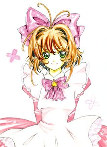 Rating: Safe Score: 0 Tags: 1girl arms_behind_back bow brown_hair cardcaptor_sakura coloured green_eyes hair_bow hibarisann kinomoto_sakura simple_background smile solo white_background User: DMSchmidt