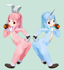 Rating: Safe Score: 1 Tags: 10s 2girls anchon animal_costume animal_ears ass blue_hair bunny_ears carrot eating final_fantasy final_fantasy_xiv food from_behind gloves highres horn lalafell leaning_forward long_hair looking_back multiple_girls pink_hair pointy_ears red_eyes shoes smile tail tail_hold User: Domestic_Importer