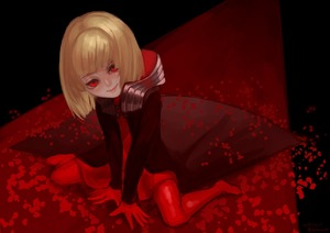 Rating: Safe Score: 4 Tags: 1girl blonde_hair drag-on_dragoon drag-on_dragoon_1 dress gloves looking_at_viewer manah pose red_dress red_eyes short_hair smile solo source_request wa_(87s-87) wariza User: DMSchmidt