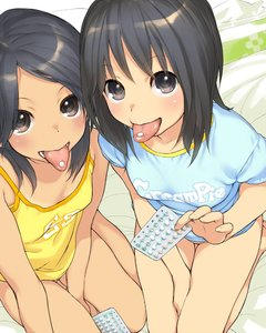 Rating: Questionable Score: 4 Tags: 2girls bangs barefoot between_legs birth_control black_eyes black_hair blush bottomless breasts brown_eyes camisole eyebrows_visible_through_hair from_above hand_between_legs kikurage_(crayon_arts) looking_at_viewer medium_hair multiple_girls nopan original parted_bangs pill seiza shirt sitting small_breasts t-shirt tagme tan tanline thigh_gap tongue tongue_out yokozuwari User: Domestic_Importer