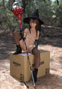 Rating: Questionable Score: 55 Tags: 1girl 3dcg amazon blue_eyes boots brown_hair budding_breasts hat inconvenient_censoring long_hair navel nipples outdoors package photorealistic pose pussy shadow sitting thighhighs toufu_(tofusan) twin_tails witch User: fantasy-lover