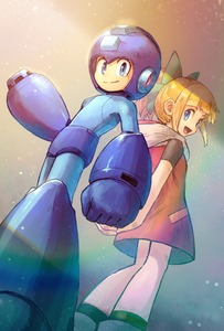 Rating: Safe Score: 0 Tags: 1boy 1girl android arm_cannon blonde_hair blue_eyes brother_and_sister dress hair_ribbon helmet highres long_hair looking_at_viewer open_mouth ponytail ribbon robot rockman rockman_(character) rockman_(classic) roll siblings skirt smile weapon User: DMSchmidt