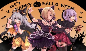 Rating: Safe Score: 0 Tags: 3girls :d ahoge bat bat_hair_ornament black_cape black_gloves black_legwear black_nails blonde_hair bloomers brown_eyes cape castle cat claw_pose demon_horns demon_tail fangs gem gloves grey_eyes group_name hair_ornament hair_over_one_eye halloween happy_halloween highres horns hoshi_shouko idolmaster idolmaster_cinderella_girls jack-o'-lantern jack-o'-lantern_hair_ornament kawaii_boku_to_142's koshimizu_sachiko long_hair looking_at_viewer multiple_girls nail_polish open_mouth orange_background pina_korata pleated_skirt polearm purple_hair red_eyes red_skirt shirasaka_koume short_hair silhouette silver_hair skirt skull_necklace smile tail tdnd-96 thighhighs tombstone trident underwear weapon wrist_flower yellow_bloomers User: DMSchmidt