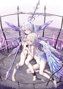 Rating: Questionable Score: 1 Tags: 2girls absurdres alcohol bangs bare_legs barefoot birdcage blonde_hair blue_eyes blue_wings blush bottomless cage chain closed_mouth crystal cuffs cup drinking_glass eyebrows_visible_through_hair feathered_wings grey_eyes groin hair_between_eyes heterochromia highres holding holding_cup long_hair looking_at_viewer multiple_girls nude original pouring_onto_pussy red_eyes silver_hair utatanecocoa very_long_hair water wine wine_glass wings yuri User: DMSchmidt