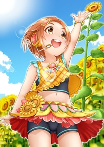 Rating: Safe Score: 1 Tags: 1girl :d arm_up bangs bare_arms bare_shoulders black_shorts blue_sky blurry blurry_background blush brown_eyes brown_hair cloud collar collarbone day depth_of_field eyebrows_visible_through_hair field flower flower_field forehead headphones headset highres idolmaster idolmaster_cinderella_girls looking_away midriff navel open_mouth outdoors parted_bangs red_skirt regular_mow round_teeth ryuuzaki_kaoru short_shorts shorts shorts_under_skirt skirt sky smile solo spats sunflower tank_top teeth upper_teeth yellow_flower User: Domestic_Importer