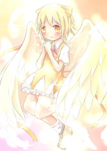 Rating: Safe Score: 0 Tags: 1girl absurdres alternate_colour alternate_element alternate_eye_colour alternate_hair_colour angel_wings bad_id blonde_hair blush bow cirno dress feathers glowing glowing_wings hai hair_bow hands_clasped highres open_mouth sakuraba_hikaru_(loveindog) short_hair solo touhou_project wings yellow_dress yellow_eyes User: Domestic_Importer