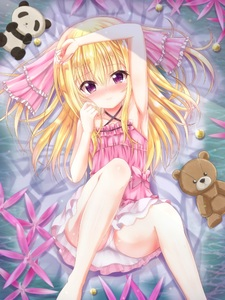 Rating: Safe Score: 1 Tags: 1girl arm_up armpits ass barefoot blonde_hair blush dress hand_on_own_head hand_to_own_mouth knees_up legs legs_up long_hair lying on_back original panchira pantsu pantyshot_(lying) pink_dress underwear User: Domestic_Importer
