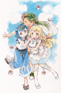 Rating: Safe Score: 0 Tags: 3girls alolan_form alolan_vulpix baggy_pants bangs barasui blonde_hair blue_eyes blue_footwear blue_hair blue_sailor_collar blush brown_skin capri_pants closed_eyes dress flower green_eyes green_footwear green_hair hair_flower hair_ornament highres holding holding_pokemon lillie_(pokemon) mao_(pokemon) multiple_girls npc_trainer pants poke_ball pokemon pokemon_(creature) pokemon_(game) pokemon_sm sailor_collar sandals shoes sleeveless sleeveless_dress sneakers standing standing_on_one_leg suiren_(pokemon) swimsuit swimsuit_under_clothes trial_captain User: DMSchmidt