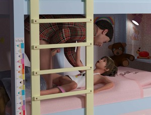 Rating: Explicit Score: 19 Tags: 1boy 1girl 3dcg age_difference brown_hair bunk_bed looking_at_each_other on_bed open_mouth pants_down pantsu pantsu_around_one_leg penis photorealistic pussy short_twin_tails spread_legs teddy_bear twin_tails underwear User: yobsolo