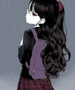 Rating: Safe Score: 0 Tags: 1girl absurdres backpack bag bangs black_hair black_jacket blue_background blunt_bangs bow closed_mouth collared_shirt cowboy_shot doremi from_behind glasses hair_bow highres jacket long_hair long_sleeves looking_at_viewer looking_back original pleated_skirt rain red_bow red_eyes red_skirt school_uniform shirt skirt standing white_shirt white_skin User: Domestic_Importer