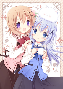 Rating: Safe Score: 0 Tags: 1girl 2girls :d angora_rabbit animal animal_on_head bangs black_skirt blue_eyes blue_neckwear blue_vest blush bow bowtie brown_skirt bunny bunny_on_head buttons closed_mouth collared_shirt cowboy_shot cup eyebrows_visible_through_hair flat_chest gochuumon_wa_usagi_desu_ka? hair_ornament hairclip hand_on_another's_shoulder heart holding holding_cup hoto_cocoa kafuu_chino light_blue_hair long_hair long_sleeves looking_at_viewer multiple_girls nanase_miori on_head open_mouth orange_hair pink_vest purple_eyes rabbit_house_uniform red_neckwear shirt short_hair skirt smile standing steam tippy two-tone_background vest white_shirt wing_collar x_hair_ornament User: Domestic_Importer