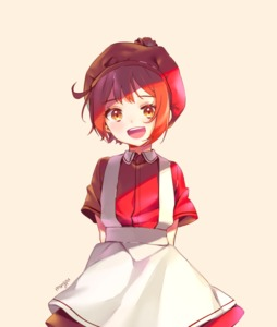 Rating: Safe Score: 0 Tags: 1girl ae-3803 ahoge apron arms_behind_back artist_name cowboy_shot erythroblast_(hataraku_saibou) hat hataraku_saibou looking_at_viewer mongpu open_mouth orange_eyes pink_background pom_pom_(clothes) red_hair shirt short_hair short_sleeves signature simple_background skirt smile solo User: DMSchmidt
