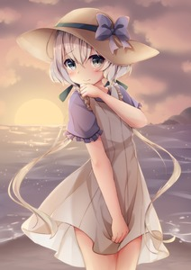 Rating: Safe Score: 1 Tags: 1girl beach blue_eyes blush cloud cloudy_sky dress dress_shirt embarrassed evening eyebrows_visible_through_hair flat_chest frilled_sleeves frills hair_between_eyes hair_ribbon hat hat_ribbon highres horizon konno_junko long_hair looking_at_viewer low_twintails ocean outdoors purple_ribbon purple_shirt ribbon shirt short_sleeves silver_hair sky sleeveless sleeveless_dress solo sun_hat sundress sunlight sunset twin_tails umou_(may65879) wading water white_dress zombie_land_saga User: DMSchmidt