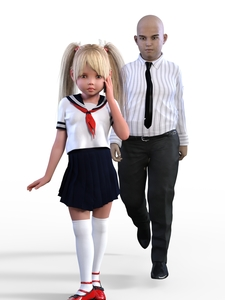 Rating: Safe Score: 4 Tags: 1boy 1girl 3dcg age_difference bald belt black_skirt blonde_hair closed_mouth deepinside_(deepfake) highres long_hair long_sleeves necktie original pants photorealistic pleated_skirt short_sleeves skirt twin_tails vertical_stripes walking white_legwear white_shirt white_sleeves zettai_ryouiki User: Domestic_Importer