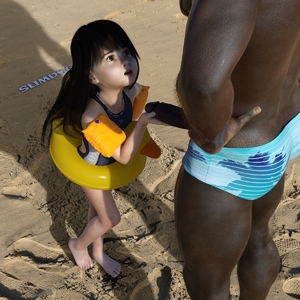 Rating: Explicit Score: 37 Tags: 1boy 1girl 3dcg age_difference artist_name barefoot beach brown_skin dark_skinned_male hands_on_hips highres innertube interracial long_hair looking_up one-piece_swimsuit open_mouth original penis photorealistic sand shadow slimdog standing swimsuit User: Domestic_Importer