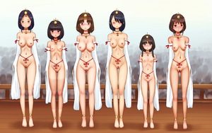 Rating: Explicit Score: 19 Tags: 6+girls age_difference anklet barefoot blush breasts closed_eyes collar cowtits detached_sleeves feet flat_chest headdress humiliation jewellery large_breasts lineup mikawamakiba multiple_girls navel nipples pubic_hair public_nudity pussy slave small_breasts source_request standing sweat take_your_pick tan tanline toes User: Domestic_Importer