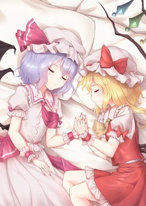 Rating: Safe Score: 0 Tags: 2girls bat_wings bed_sheet blonde_hair blue_hair closed_eyes flandre_scarlet hat holding_hands lying minust mob_cap multiple_girls nail_polish on_side pillow puffy_short_sleeves puffy_sleeves red_nails remilia_scarlet short_sleeves skirt skirt_set sleeping touhou_project wings wrist_cuffs User: DMSchmidt
