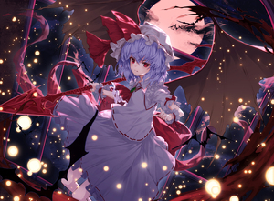 Rating: Safe Score: 0 Tags: 1girl ascot bat_wings blue_hair bow brooch dress eyebrows_visible_through_hair hair_between_eyes hat hat_ribbon highres holding holding_weapon jewellery light_particles lo-ta looking_at_viewer mob_cap moon nail_polish night night_sky polearm puffy_short_sleeves puffy_sleeves red_bow red_eyes red_moon red_nails red_neckwear red_ribbon remilia_scarlet ribbon short_hair short_sleeves sky solo spear spear_the_gungnir touhou_project v-shaped_eyebrows weapon white_dress white_hat wings wrist_cuffs User: DMSchmidt