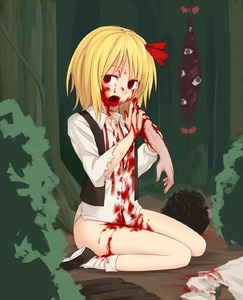 Rating: Safe Score: 3 Tags: 1girl bangs blonde_hair blood blood_from_mouth blood_on_face bloody_clothes bloody_hands bottomless bow buttons cannibalism collared_shirt corpse disembodied_limb empty_eyes eyebrows_visible_through_hair gap guro hair_bow highres long_sleeves looking_at_viewer miyo_(ranthath) open_mouth outdoors red_bow red_eyes rumia shirt shoes short_hair sitting socks torn_clothes torn_sleeves touhou_project white_legwear white_shirt User: DMSchmidt