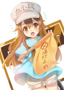 Rating: Safe Score: 0 Tags: 1girl black_footwear blue_shirt boots brown_eyes brown_hair brown_shorts flag flying_sweatdrops hat hataraku_saibou highres holding long_hair mayuzaki_yuu open_mouth platelet_(hataraku_saibou) shirt shorts shouting solo User: Domestic_Importer