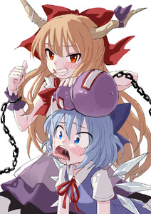 Rating: Safe Score: 0 Tags: 2girls bangs blue_bow blue_eyes blue_hair blush bow brown_hair chain cirno clenched_teeth fkey gourd grin hair_bow highres horn_ribbon horns ibuki_suika ice ice_wings long_hair looking_at_viewer multiple_girls pouring red_bow red_eyes ribbon simple_background skirt smile teeth thumbs_up tongue tongue_out toothpick touhou_project uvula very_long_hair white_background wings wrist_cuffs User: DMSchmidt