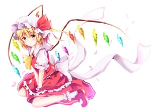 Rating: Safe Score: 0 Tags: 1girl absurdres ankle_cuffs ascot blonde_hair blush bow crystal flandre_scarlet from_side hat hat_ribbon highres huge_filesize hyurasan kneeling looking_at_viewer mary_janes mob_cap puffy_short_sleeves puffy_sleeves red_eyes red_footwear red_ribbon red_shirt red_skirt ribbon shirt shoes short_sleeves side_ponytail sitting skirt skirt_set solo touhou_project v_arms wariza white_background white_bow white_ribbon wings wrist_cuffs User: DMSchmidt