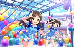 Rating: Safe Score: 0 Tags: 10s 2girls artist_request balloon bangs black_hair bow bracelet brown_eyes brown_hair collarbone dancing faceless hair_bow idolmaster idolmaster_cinderella_girls idolmaster_cinderella_girls_starlight_stage jewellery long_hair looking_at_viewer microphone multiple_girls nakano_yuka official_art open_mouth shorts sky smile tachibana_arisu twin_tails User: DMSchmidt