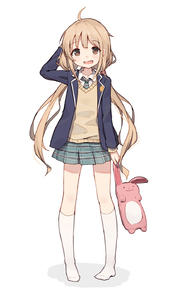 Rating: Safe Score: 0 Tags: 1girl :d ahoge arm_behind_head blonde_hair brown_eyes eyebrows_visible_through_hair full_body futaba_anzu idolmaster idolmaster_cinderella_girls kneehighs long_hair looking_at_viewer low_twintails no_shoes open_mouth shone smile User: Domestic_Importer