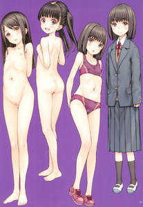 Rating: Questionable Score: 4 Tags: 4girls :o absurdres arms_behind_back ass bandaid bandaid_on_pussy bare_arms bare_legs bare_shoulders barefoot black_eyes black_hair black_legwear blush bow bra cameltoe closed_mouth clothed_female_nude_female collarbone eyebrows_visible_through_hair feet flat_chest focke_wulf full_body highres long_sleeves looking_back multiple_girls navel nipples nude open_mouth original pantsu parted_lips scan shoelaces shoes simple_background skirt socks standing twin_tails underwear User: Domestic_Importer
