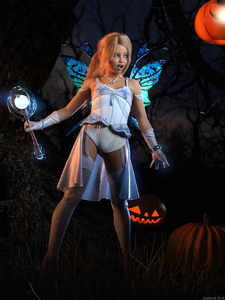 Rating: Questionable Score: 10 Tags: 1girl 3dcg angel blonde_hair blue_eyes bracelet daniela_(dwemra) dwemra flat_chest gloves halloween necklace open_mouth photorealistic ponytail pose pumpkin shadow standing thighhighs wand zettai_ryouiki User: fantasy-lover