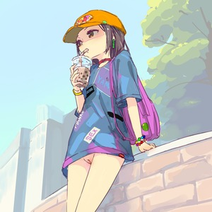 Rating: Questionable Score: 13 Tags: 1girl black_hair bottomless brick bubble_tea clothes_writing cup day drinking drinking_straw exhibitionism flat_chest from_below hat no_pants original outdoors pussy shaded_face shirt so yamada_(gotyui) User: Domestic_Importer