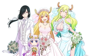 Rating: Safe Score: 3 Tags: 1boy 3girls :> aqua_dress bangs bare_shoulders black_hair blonde_hair blue_eyes blue_hair blunt_bangs blush bouquet braid breast_squeeze breasts bride closed_eyes cowtits dragon_girl dragon_horns dress fafnir_(maidragon) fang flower formal frilled_dress frills frown fukai_(yas_lions) glasses gloves gradient_hair green_hair groom hair_flower hair_ornament hair_ribbon hand_on_own_chest highres horns jewellery kanna_kamui kobayashi-san_chi_no_maidragon large_breasts lavender_hair lily_(flower) long_hair long_sleeves looking_at_viewer low_twintails multicoloured_hair multiple_girls necklace necktie open_mouth pearl_necklace pince-nez pink_dress quetzalcoatl_(maidragon) red_eyes ribbon rose signature simple_background slit_pupils smile suit tooru_(maidragon) twin_braids twin_tails veil vest wallpaper wedding_dress white_background white_neckwear white_ribbon white_suit white_vest User: Domestic_Importer