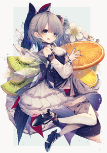 Rating: Safe Score: 0 Tags: 1girl absurdres bangs black_footwear blue_bow blue_choker blue_eyes blue_hair blue_nails blush bow choker cirno detached_sleeves dress eyebrows_visible_through_hair flower food frilled_skirt frills fruit full_body hair_between_eyes hair_bow hair_flower hair_ornament highres hito_komoru huge_filesize ice ice_wings kiwifruit layered_dress mandarin_orange nail_polish open_mouth orange oversized_food oversized_object short_hair simple_background skirt sleeveless sleeveless_dress solo thighhighs touhou_project white_dress white_legwear wings User: DMSchmidt