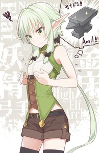 Rating: Safe Score: 3 Tags: 1girl anvil bare_shoulders belt black_legwear blush bow breasts closed_mouth elf goblin_slayer! green_eyes green_hair hair_bow high_elf_archer_(goblin_slayer!) highres long_hair looking_down pointy_ears shirt shorts sidelocks sleeveless sleeveless_shirt small_breasts solo standing tears thighhighs trembling yopan_danshaku User: DMSchmidt