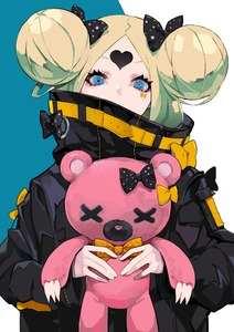 Rating: Safe Score: 1 Tags: 1girl abigail_williams_(fate/grand_order) bangs black_bow black_jacket blonde_hair blue_eyes bow covered_mouth double_bun fate/grand_order fate_(series) hair_bow heart heroic_spirit_traveling_outfit highres holding holding_stuffed_animal jacket long_hair long_sleeves looking_at_viewer orange_bow parted_bangs polka_dot polka_dot_bow ram_(ramlabo) sleeves_past_wrists solo stuffed_animal stuffed_toy teddy_bear upper_body User: DMSchmidt