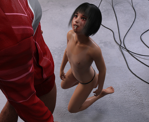Rating: Explicit Score: 9 Tags: 1boy 1girl 3dcg after_fellatio age_difference bangs barefoot blunt_bangs clothed_male_nude_female cum cum_in_mouth cumdrip facial flat_chest halloween hetero kneeling looking_at_partner looking_up moriso navel nipples nude photorealistic standing studio topless User: fantasy-lover
