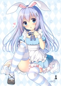 Rating: Safe Score: 1 Tags: 1girl :o alice_(wonderland) alice_(wonderland)_(cosplay) alice_in_wonderland apron argyle argyle_background black_shoes blue_dress blue_eyes blush chess_piece chestnut_mouth cosplay detached_collar dress flat_chest frilled_dress frills gochuumon_wa_usagi_desu_ka? hairband heart kafuu_chino king_(chess) knee_up light_blue_hair looking_at_viewer maid_apron mary_janes open_mouth pawn shibainu_niki shoes sitting solo sparkle thighhighs white_apron white_hairband wrist_cuffs User: DMSchmidt