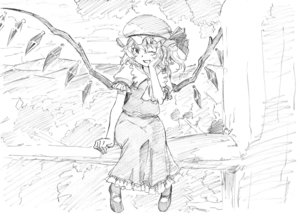 Rating: Safe Score: 0 Tags: 1girl :d absurdres ascot blush flandre_scarlet hand_on_own_cheek hand_up hat highres looking_at_viewer mob_cap one_eye_closed open_mouth outdoors pink_x puffy_short_sleeves puffy_sleeves shoes short_sleeves sitting skirt smile solo touhou_project tree vest wings User: DMSchmidt