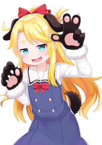 Rating: Safe Score: 1 Tags: 1girl animal_ears atg_(wttoo0202) blonde_hair blue_eyes blush bow dog_ears dog_tail eyebrows eyebrows_visible_through_hair fang gloves hair_bow highres himesaka_noa long_hair long_sleeves school_uniform solo tail watashi_ni_tenshi_ga_maiorita! User: Domestic_Importer