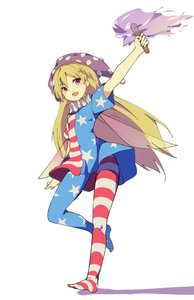 Rating: Safe Score: 1 Tags: 1girl american_flag_dress american_flag_legwear blonde_hair clownpiece dress fairy_wings fang fire full_body hasebe_yuusaku hat jester_cap long_hair looking_at_viewer neck_ruff pantyhose polka_dot purple_eyes short_dress short_sleeves simple_background smile solo star star_print striped torch touhou_project very_long_hair white_background wings User: DMSchmidt